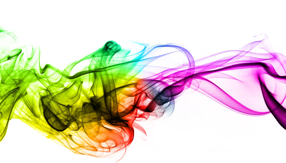 Colorful creative smoke waves on white background. Perfect for design, as graphic element or template background.